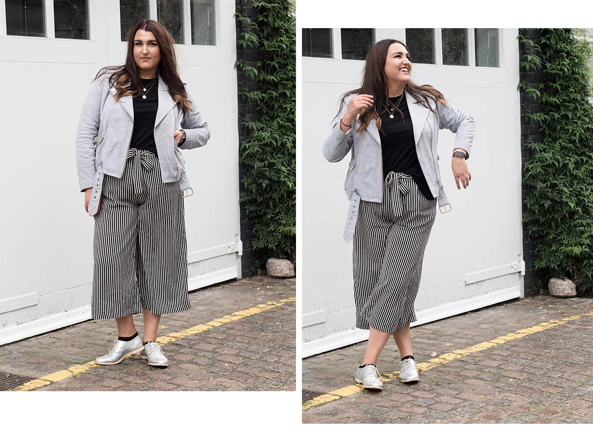 Suede biker jacket and culottes
