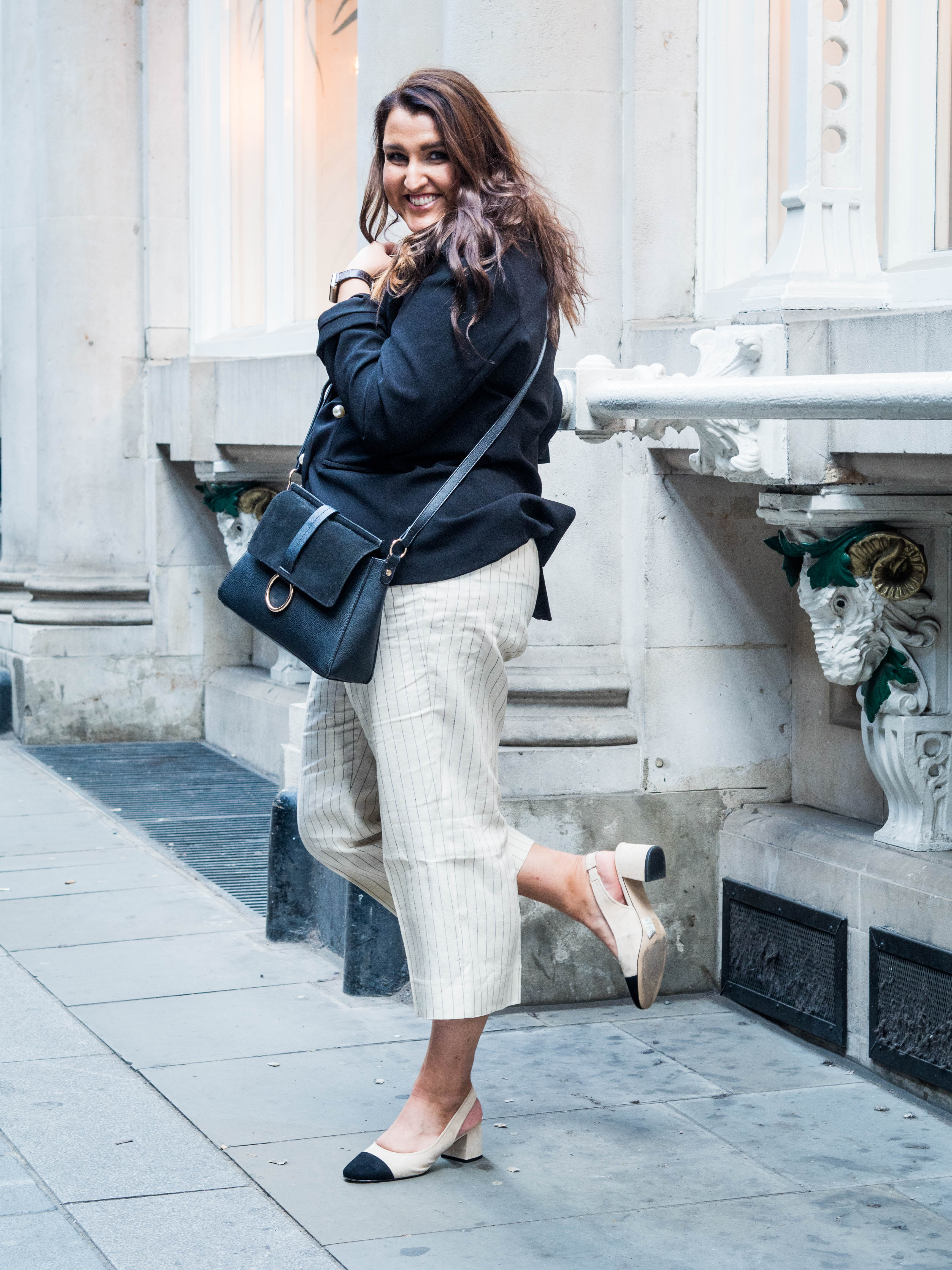 Pearl Jacket, Mango Culottes, Chanel slingbacks fashion outfit
