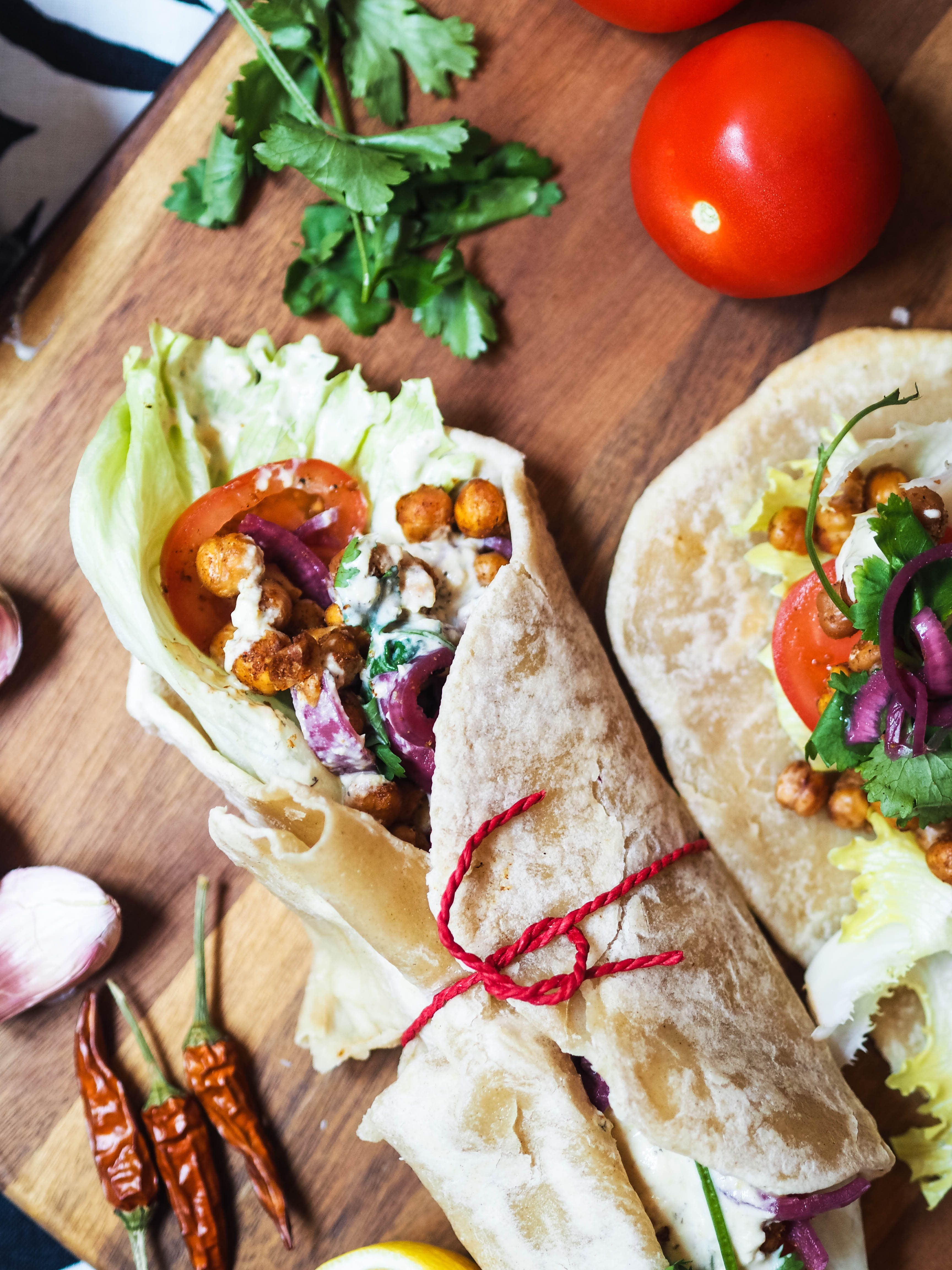 The best ever chickpea wrap - middle eastern style!